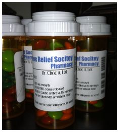 This site has labels you can print to look like RX labels. You can put m's or skittles in empty pill bottles then put the labels on them.