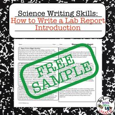 FREE How to Write a Lab Report Introduction Graphic Organizer. This is a stand-alone resource that is also a sample of a larger lab report writing resource. Writing Lab, Science Writing, Report Writing, Teaching Writing, Teaching Science, Writing Skills, Teaching Ideas, Learn Science, Writing Workshop