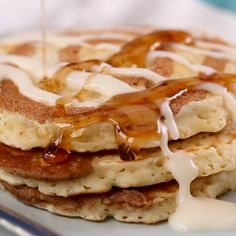 You'll flip over these flapjacks that taste just like #cinnamonrolls. Instead of maple syrup, top this pancake recipe with a cream cheese drizzle. #pancakes Cinnamon Roll Pancakes, Cinnamon Rolls, Cream Cheese Pancakes, Pumpkin Pancakes, Buttermilk Pancakes, Apple Cinnamon, Brunch Recipes, Breakfast Recipes, Pancake Recipes