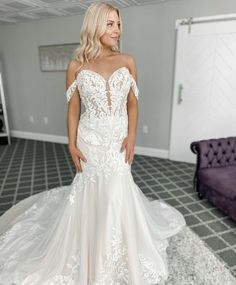 The bodice of this gown is complete with sheer lace appliques and off the shoulder illusion straps. Paired with a fitted yet flowing chiffon skirt. Fitted Wedding Gown, Bridal Gowns, Wedding Gowns, New York Bride, Social Dresses, Bridesmaid Dresses, Prom Dresses, Chiffon Skirt, Lace Applique