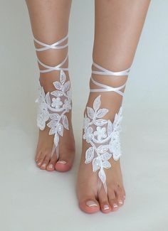Beach Wedding Barefoot Sandals Bridal Lace Shoes wedding Νυφικά 4025eb71746