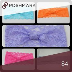 Mix & Match Lace Headbands NWOT! Stretchy lace headbands. Choose from turquoise, orange, lavender, hot pink & light gray.  Stretch to fit so 1 size fits most adults and youth Made from elastic lace.  Buy 1/$4, 2/$6, 3/$9, 4/$11, 5/$13, 7/$15, 10/$20. Just tell me which ones you want & I'll make a listing for you! Combine other colors in any of the headband listings. Make a bundle offer for the price listed above. NWOT! Never worn or tried on! Boutique Accessories Hair Accessories