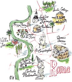 Roman Holiday Audrey Hepburns Rome Map Poster By Callaomalley - Rome map cartoon