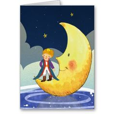 The Little Prince Standing on the Moon Greeting Cards