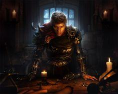 Commander - 2D & 3D Digital Art Illustration created with Daz Studio, Poser and Photoshop | dragon age war room plans demon fantasy medieval armor male |