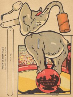 dec elephant by pilllpat: Elephant paper toy Circus Art, Circus Theme, Paper Puppets, Paper Toys, Vintage Paper Dolls, Vintage Circus, Kirigami, Halloween Circus, Paper Mache Crafts