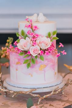 Perfectly Pink Wedding Cake with Love Birds