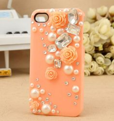 Rose Back Case with Diamonds for iPhone4 4S