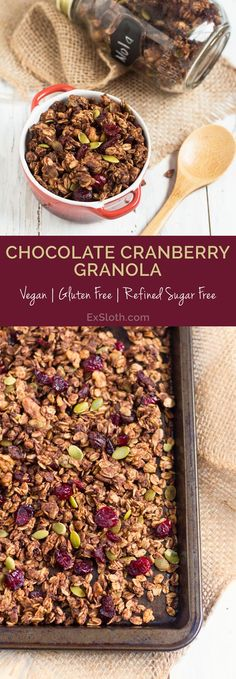 Healthy, Vegan Chocolate Cranberry Granola Recipe via @GiselleR | Healthy Living Blogger | ExSloth.com