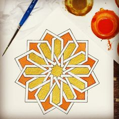 Instagram photo by @samira._.m via ink361.com Islamic Art Pattern, Arabic Pattern, Geometry Pattern, Pattern Art, Geometric Drawing, Geometric Shapes, Islamic Paintings, Turkish Art, Arabic Art
