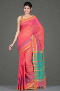 Mangalagiri Cotton Sarees | Stunning Peachish Pink Mangalagiri Cotton Saree With Gold Zari Striped Border And Pallu | IndiaInMyBag.com