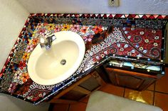 Stained Glass Mosaic Bathroom Vanity by dannimacstudios on Etsy