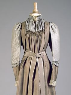 Taupe and dove grey silk tea gown, American, ca. 1890, KSUM 1995.17.3