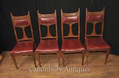 - Gorgeous set of 4 antique art nouveau dining chairs in oak<br /> - We…