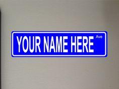 Blue Metal Street sign outdoor x by GraniteCityGraphics Aluminum Signs, Aluminum Metal, Custom Street Signs, Outdoor Signs, Yard Ideas, Landscaping, Names, Letters, Writing