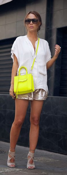 SPARKLY - Golden Sequins Shorts with White Loose Sleeveless Top and Sexy Thing Cutout Sandals / Johanna Olsson
