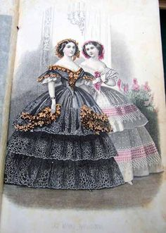 overview of 1850s/1860s gowns with the advent of the sewing machine and industrial loom the volume of fabric and sewing in dresses went beyond reason into opulance