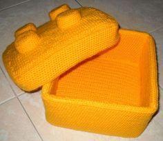 Crocheted Lego Box.  Cute storage idea for those blocks!!