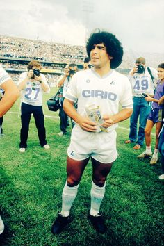 Maradona before his first game for Napoli in Serie A in 1984