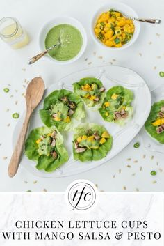 Chicken Lettuce Cups with Mango Salsa and Pesto Dressing | Healthy Appetizer | Healthy Lunch Recipe | Gluten-Free Recipe |