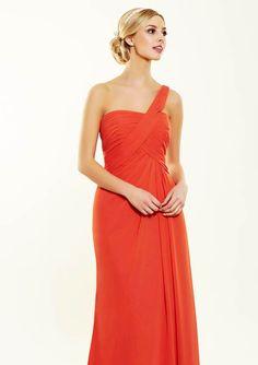 Asymmetrical orange bridesmaid dress from Bridesmaids by Romantica