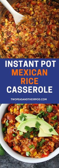 Instant Pot Mexican Rice Casserole is a weeknight dinner favorite! You will love this cheesy black bean and rice casserole! It is easy to make and freezes well too! #dinner #easyrecipes #vegetarian #glutenfree #InstantPot #casseroles