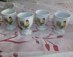 Egg Cups Vintage French Rooster Set of 4 by VintagebyGrammy, $45.00