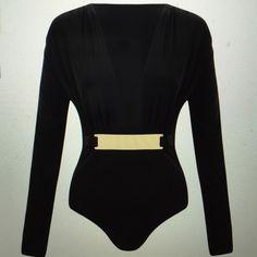 V neck bodysuit New never worn bodysuit with gold belt Just wear Tops
