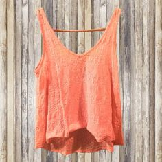Floral Lace Crop Top Sheer floral lace crop top, super cute and lightweight! The color is more of a light coral pink! Vanity Tops Crop Tops