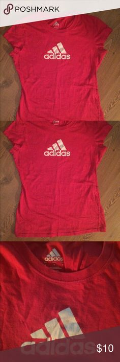 Adidas Pink Tee Adidas Pink Tee, short sleeve fitted style. Size M Woman's. Gently used condition.  Very soft! adidas Tops Tees - Short Sleeve