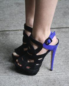 #Black & #Purple #CutOut #High #Heel #Shoes