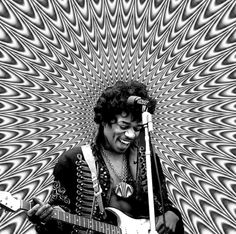 jimi Hendrix : classic rock music legend. Psychedelic background on this black and white photograph. Fun image.
