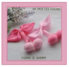 20 Pieces Grosgrain Ribbon Hair Bows Pom Pom Bows by HandyHarry