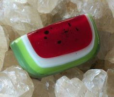 fused glass watermelon pin brooch with seeds picnic by papernclay,