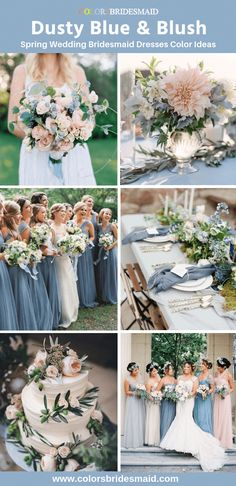 Spring wedding bridesmaid dresses color palette 2019 - dusty blue and blush dresses with wedding cakes, bouquets and flowers in these colors. Blue Bridesmaid Dresses Spring wedding bridesmaid dresses color palette 2019 - dusty blue and blush dre Dusty Blue Bridesmaid Dresses, Dusty Blue Weddings, Wedding Bridesmaids, Blush Dresses, Spring Dresses, Bridesmaid Color, Bridesmaid Flowers, Bridal Bouquets, Spring Wedding Dresses