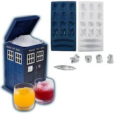 Doctor Who Ice Cube Tray and TARDIS-Shaped Ice Bucket by Underground Toys, http://www.amazon.com/dp/B0092JU3RA/ref=cm_sw_r_pi_dp_kkb.qb1MA130A