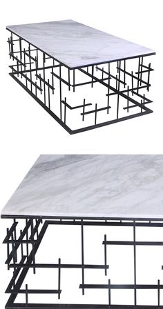 Welcome to the future of interior design. This unique coffee table is crafted with an elegant combination of iron and marble, but its staggered bar details truly steal the show. Pair this piece with ot...  Find the Vestige Coffee Table, as seen in the Cemented Industrial Style Collection at http://dotandbo.com/collections/cemented-industrial-style?utm_source=pinterest&utm_medium=organic&db_sku=122637
