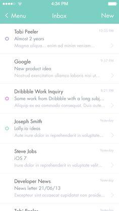 Minimal Mail App by Daniel Thomas Mobile Ui Design, App Ui Design, User Interface Design, Web Design, Mobile Mockup, Mobile App, Ui Design Inspiration, Ios 7, Android