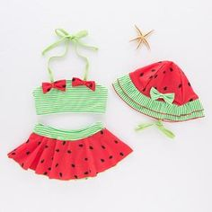 ARSTART Baby Girls Cute Watermelon Tankini Swimsuits Two-Pieces Halter Bottom Bathing Suits with Hat Bikini Swimsuits Baby Girl Swimwear, Baby Girl Swimsuit, Kids Swimwear, Swimsuits, Bikinis, Cute Watermelon, Bathing Costumes, Swimsuit Pattern, Girls Bathing Suits