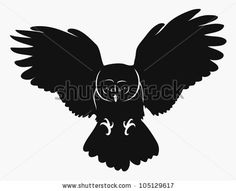 isolated owl in flight - vector illustration - stock vector