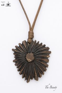 Flower Wood Pendant From Coconut Shell by TheBeautyJewelryShop