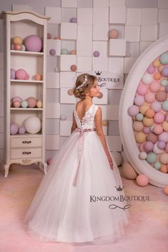 Lace Ivory White Flower Girl Dress Holiday by KingdomBoutiqueUA