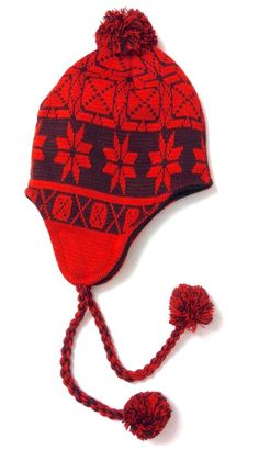 752a0dbd8206f SNOWFLAKE PERUVIAN POM BEANIE Winter Pattern Chullo RED BROWN  Men Women Teen Hat  Seephotos  Beanie
