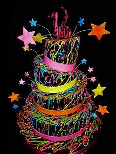 """www.RoxanasCakes.com: Sweet 16 """"Glow in the Dark themed """""""