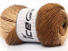 Lot of 4 x 100gr Skeins Ice Yarns EYELASH 100GR Hand Knitting Yarn Brown Camel