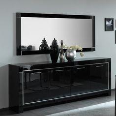 Buffet/bahut design 3 portes/3 tiroirs laqué gris/blanc Jewel ...