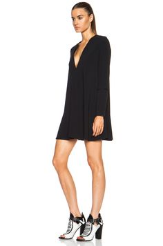 Image 2 of Proenza Schouler Long Sleeve Acetate-Blend Dress in Black