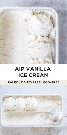 Paleo Diet 86918 to allergen-friendly, dairy-free vanilla ice cream you can enjoy in a snap! This recipe is AIP-friendly, made with coconut milk, vanilla (extract or powder), a bit of raw honey and gelatin for texture. Dairy Free Vanilla Ice Cream, Paleo Ice Cream, Ice Cream Recipes, Best Dairy Free Ice Cream Recipe, Dairy Free Eggs, Dairy Free Recipes, Diet Recipes, Cooking Recipes, Dairy Free Desserts