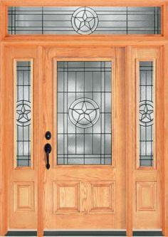 6201 Texas Star Door shown: Texas Star glass in prefinished lite Oak door, 2 sidelites and rectangular transom.