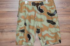 Men's Volcom Swimsuit Board Shorts Swimwear Camo Sand Green Brown Size 36 #Volcom #BoardShorts